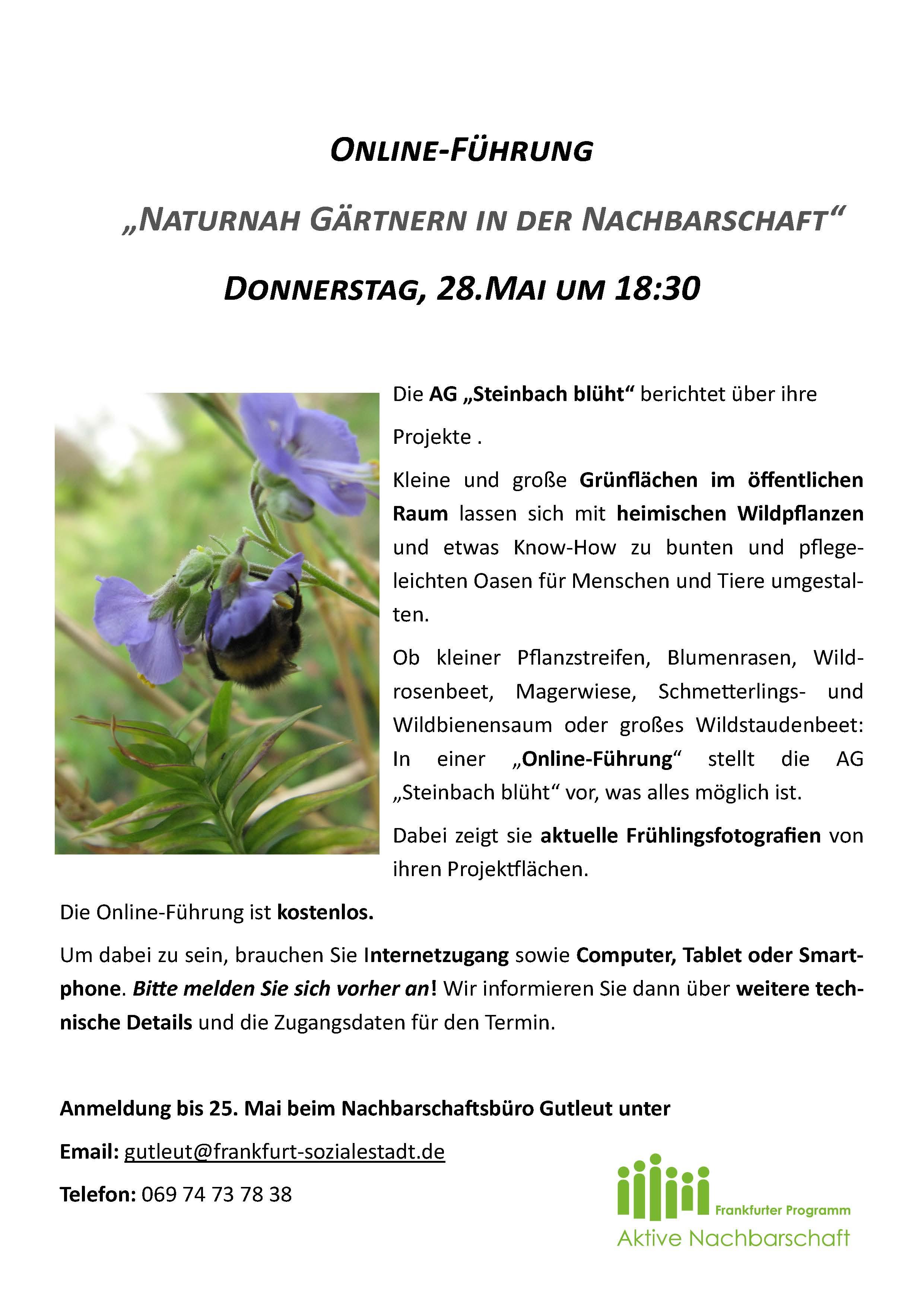 200506 Aushang Virtuelle Gartenführung